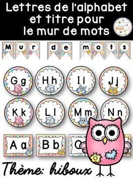 Mur de mots et lettres de l'alphabet - étiquettes - Thème: hiboux