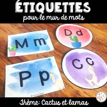 Mur de mots et lettres de l'alphabet - étiquettes - Thème: lamas et cactus