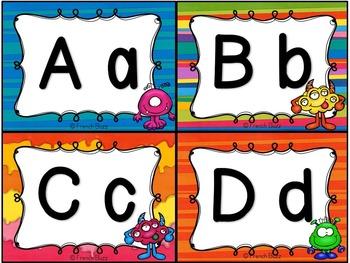 Mur de mots et lettres de l'alphabet - étiquettes - Thème: monstres