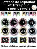 Mur de mots et lettres de l'alphabet - étiquettes - Thème: noir et chevron