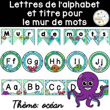 Mur de mots et lettres de l'alphabet - étiquettes - Thème: océan