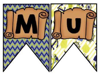Mur de mots et lettres de l'alphabet - étiquettes - Thème: pirates