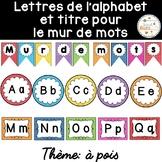 Mur de mots et lettres de l'alphabet - étiquettes - Thème: pois