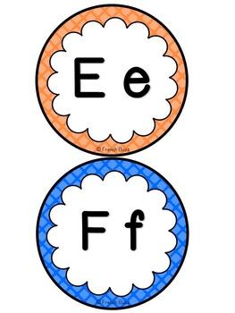 Mur de mots et lettres de l'alphabet - étiquettes - Thème: quadrillage