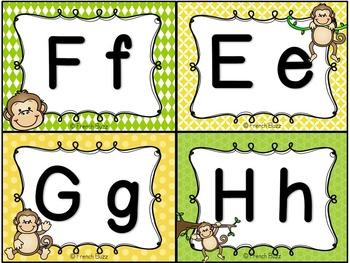 Mur de mots et lettres de l'alphabet - étiquettes - Thème: singes