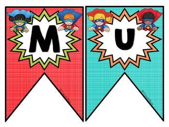 Mur de mots et lettres de l'alphabet - étiquettes - Thème: super-héros