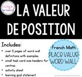 Mur de mots la valeur de position |  French math place val