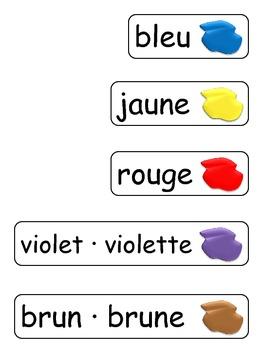 Mur de mots: les couleurs