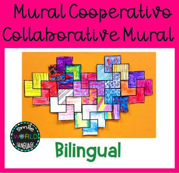 Mural cooperativo Collaborative Mural Bilingual Español Spanish Cuadrados