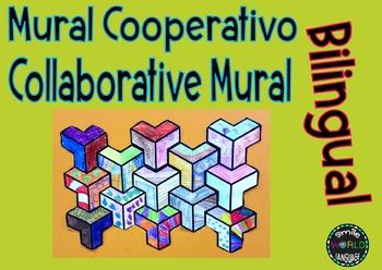 Mural cooperativo Collaborative Mural Bilingual Español Spanish Geométrico