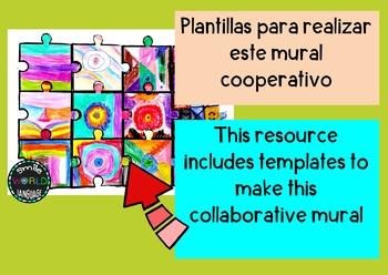 Mural cooperativo Puzzle Collaborative Mural Bilingual Español Spanish Puzle