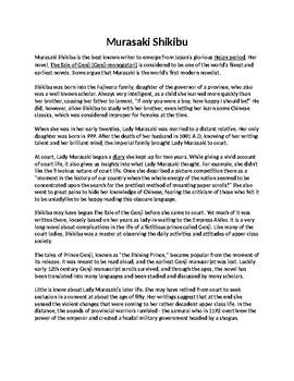 Murasaki Shikibu Biography Article and Assignment worksheet