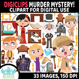 Murder Mystery/Detective Clipart, Movable Digital Pieces,