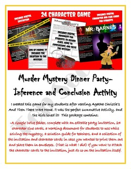Murder Mystery Dinner Party ELA Inferences and Conclusions