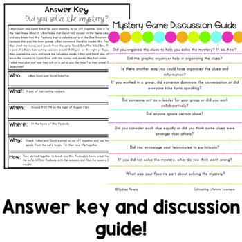 Murder Mystery Game - Murder at the Museum - Critical Thinking and Inferencing