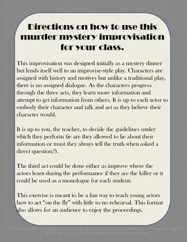 Murder Mystery Improvisation for Drama: The Memorial