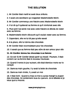 Murder Mystery Jigsaw story - Chocolates (in French)