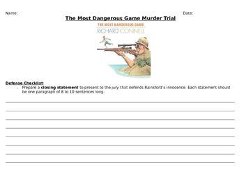 "Murder Trial: Sanger Rainsford in ""The Most Dangerous Game"""