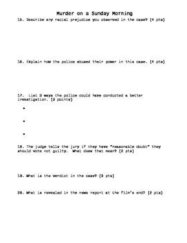 Murder on a Sunday Morning Packet worksheet