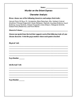 Murder on the Orient Express - Character Analysis Activity - Agatha Christie