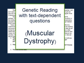 Genetics: Muscular Dystrophy reading and questions