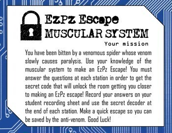 Muscular System Science Escape Room
