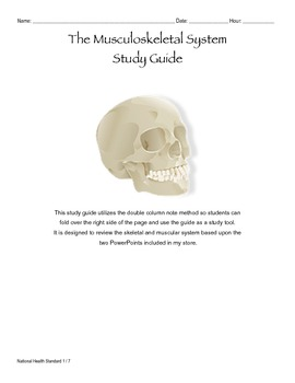 Musculoskeletal System Study Guide and Answer Key