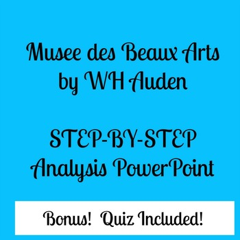 Musee des Beaux Arts (Auden) PowerPoint and Quiz