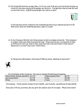 Museum Day! - multi-step math problems for Middle School
