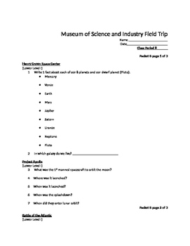 Museum of Science and Industry Field Trip Packet