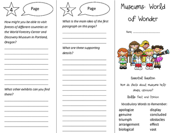 Museums: World of Wonder Trifold - Journeys 4th Grade Unit 6 Week 3 (2011)