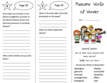 Museums: World of Wonder Trifold - Journeys 4th Grade Unit