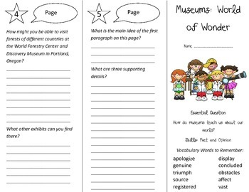Museums: World of Wonder Trifold - Journeys 4th Grade Unit 6 Week 3 (2014, 2017)