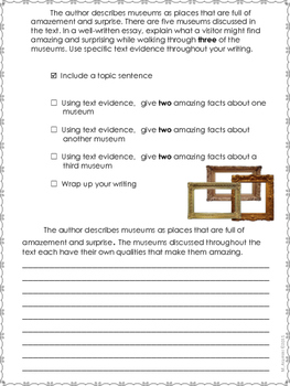 Museums:  Worlds of Wonder--Writing Prompt-Journeys Grade 4-Lesson 28