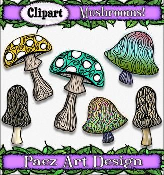Mushroom Clipart {PAEZ ART DESIGN}