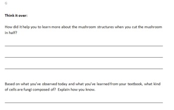 Mushroom Dissection gifted student handout