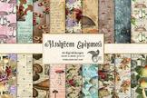 Mushroom Ephemera Digital Paper, vintage distressed textures
