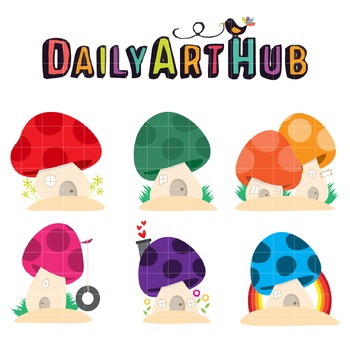 Mushroom Houses Clip Art - Great for Art Class Projects!