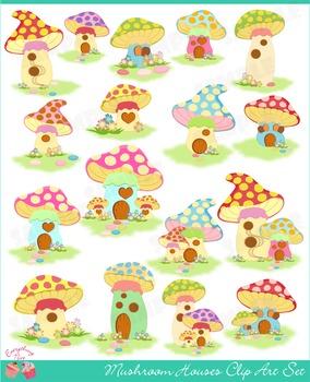 Mushroom Houses Clip Art Set