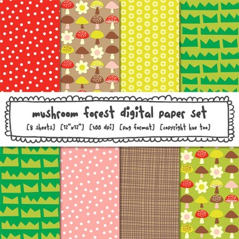 Mushroom Woodland Forest Digital Paper, Red, Yellow, Pink, Brown, Green
