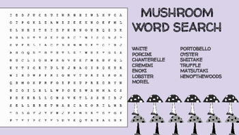 Mushroom Word Search; Mycology, Culinary, Bellringer, Environment, Fungi, Forest