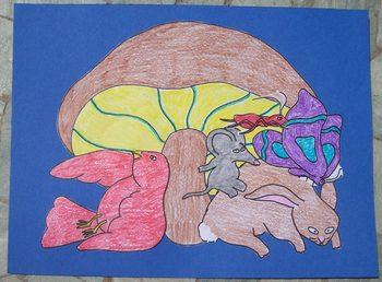 Mushroom in the Rain color cut and glue