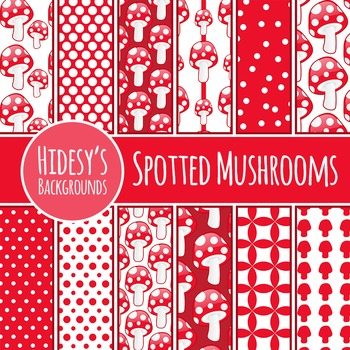 Mushrooms Backgrounds / Digital Papers / Patterns Clip Art Commercial Use