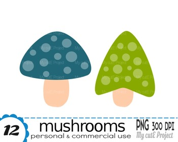 Mushrooms Clipart | 12 png files | Scrapbooking Clip art | CA20