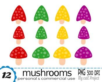 Mushrooms Clipart | 12 png files | Scrapbooking Clip art | CA21