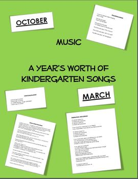 Music - A Year's Worth of Songs for Kindergarten