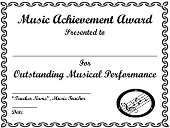 end of year music achievement award certificate template awards