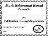 End of Year Music Achievement Award, Certificate Template, Awards