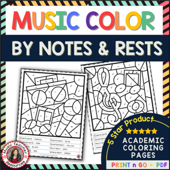 Music Coloring Pages: 26 Color by Music Sheets