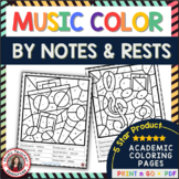 Music Coloring Sheets: 26 Color by Music Note and Rest Pages